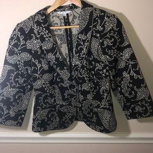 Cabi Brocade Tapestry Black Blazer 8